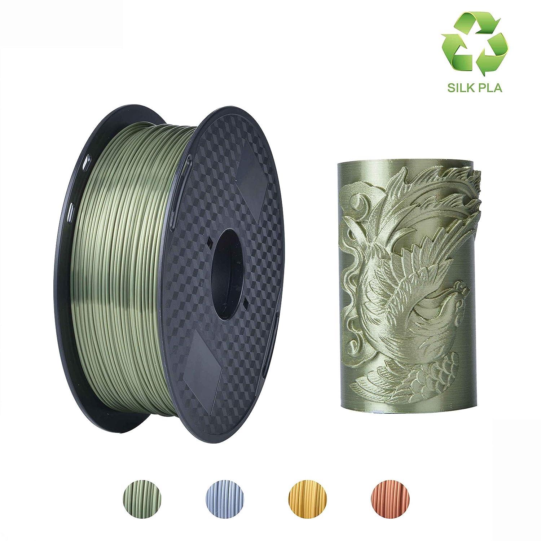 KEHUASHINA Filament de PLA d'imprimante 3D, 1.75mm, matériel d'impression 3D, filament 3D de bobine de 2.2 LBS (1KG) pour des imprimeurs 3D, SILK argent PLA