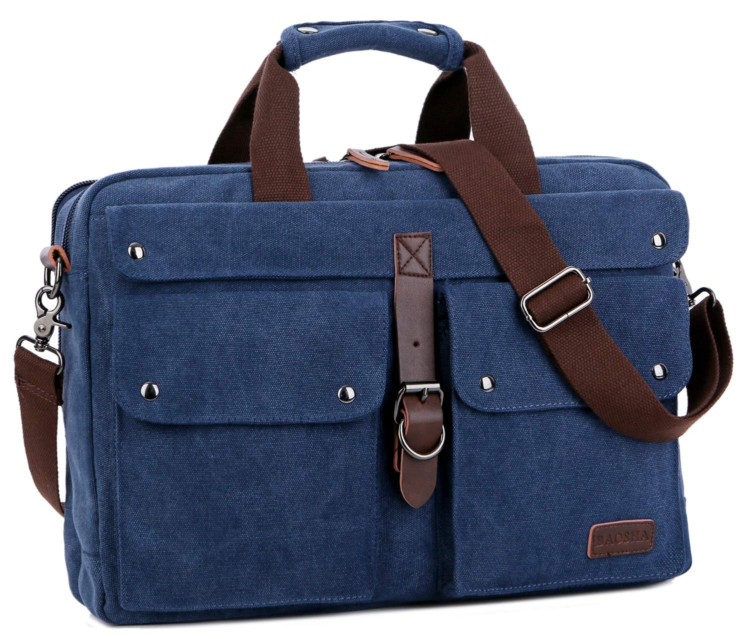 BAOSHA BC-07 17inch Canvas Laptop Computer Bag Messenger Bag Multicompartment Briefcase (Blue)