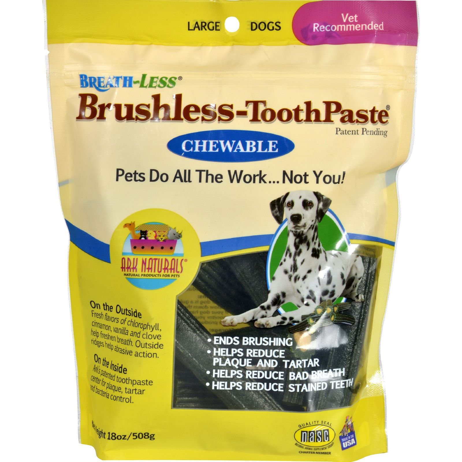 Ark Naturals Breath-Less Brushless-ToothPaste - Chewable - Large Dogs - 18 oz - Gluten Free - Yeast Free-Wheat Free- Natural dental chew for dogs