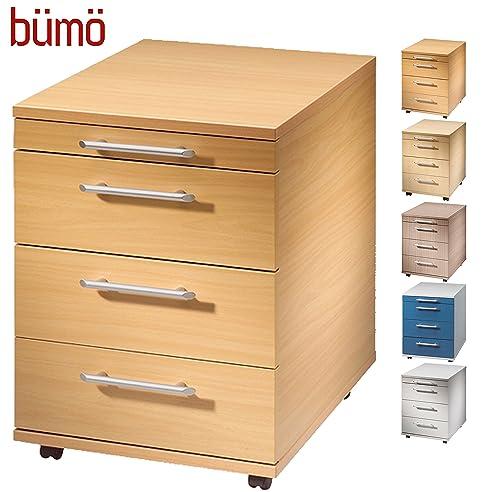 Rollcontainer holz buche  Bümö® Rollcontainer in Buche mit 3 Schüben und Schreibwaren ...