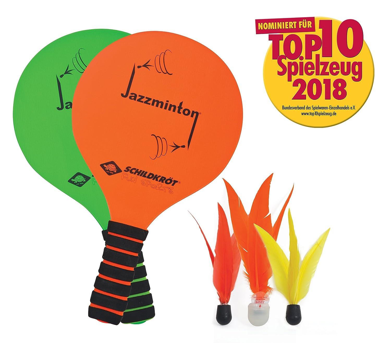 JAZZMINTON Set (2 Schläger grün/ora Keine Farbe 2 Schläger 3 Birdies das coole neue Beachball Set toller Ballflug