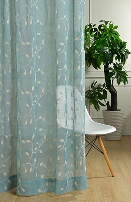 FADFAY Blue Green Embroidered Linen Curtains Fancy Living Room 2 Panels Ikea Custom Made