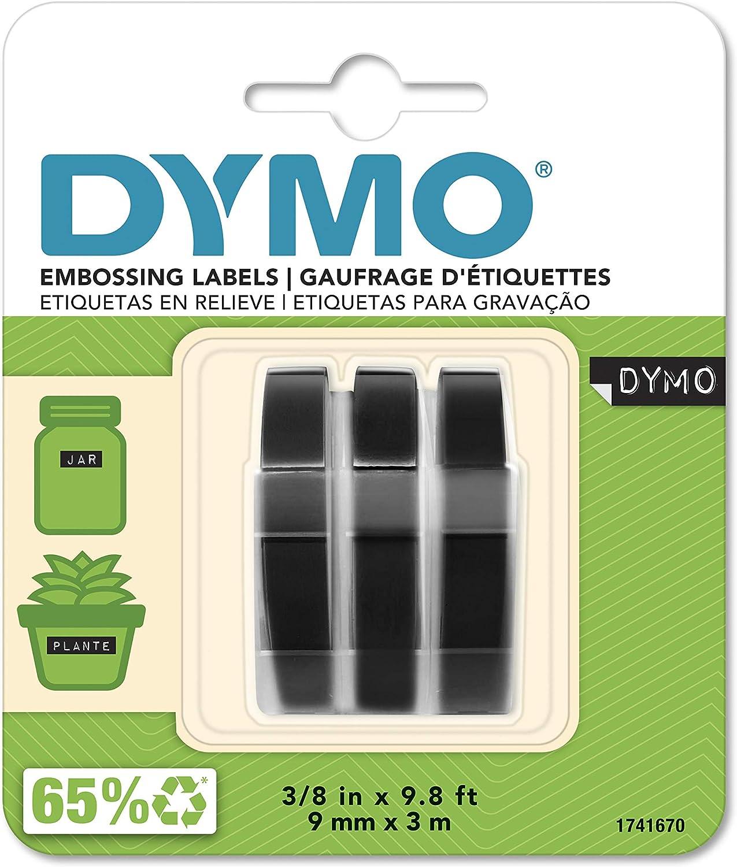 Etiquetas DYMO 3D plástico negra en relieve blanco pack 3