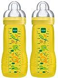 MAM 950502 - Baby Bottle, Biberon da 330 ml con tettarella misura 3 (4+ mesi), confezione doppia, design neutrale (motivi assortiti)