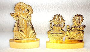2 Pic Dimensions 3.0 x4.0 INCH Marti Lord Radha Krishna Idol God of Love Playing Flute for Home Décor Living Room Metal Statue Temple Gift Item Gold Polish