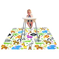Paw Legend Washable Highchair Splat Floor Mat- Anti-Slip Silicone Spot Splash Mess Mat(53'' X 53'')-Food Catcher Art…
