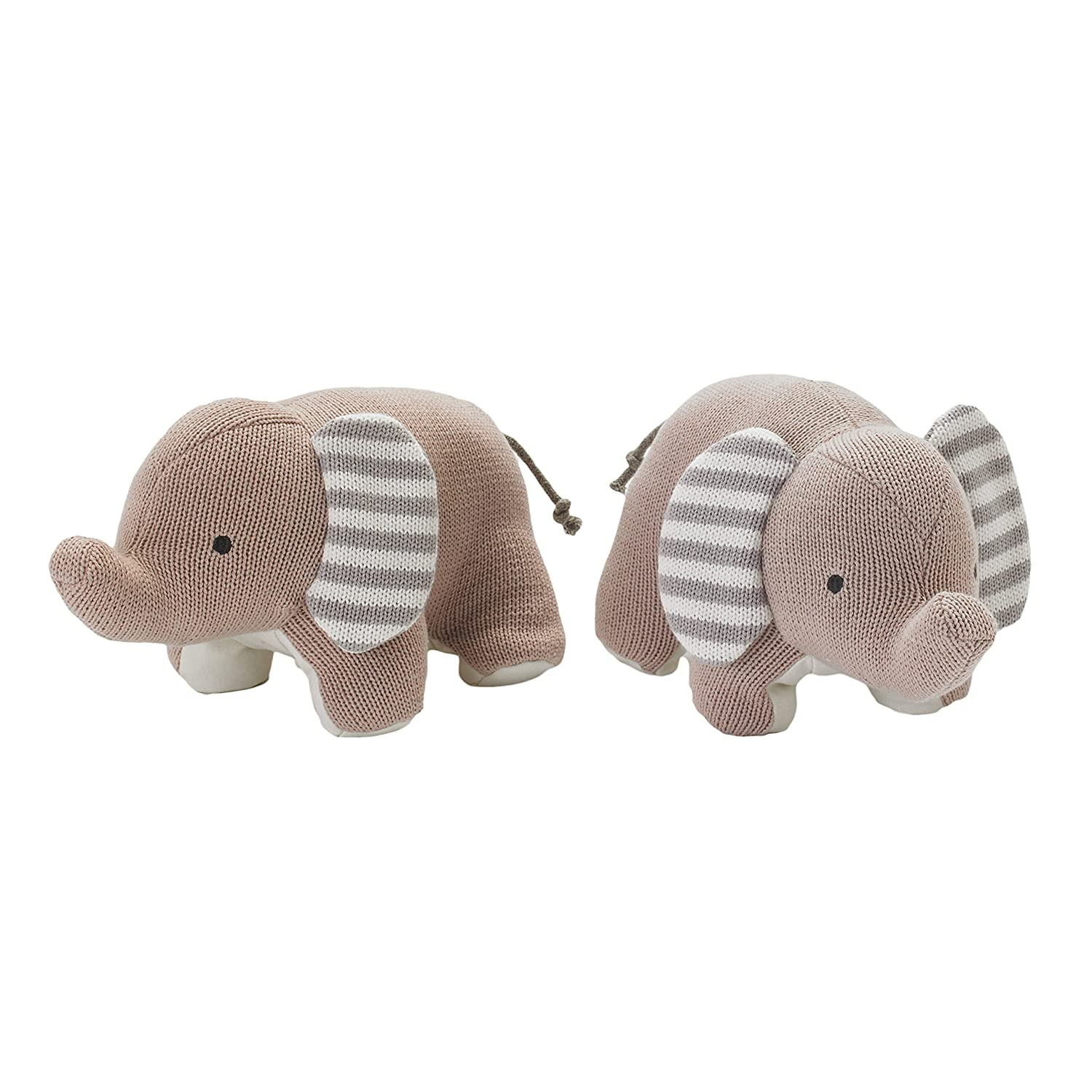 Lolli Living Elephant Bookend Friends. Knitted Elephant Bookends for Baby Nursery Accent (6x8.7x8.7 inch). 501010