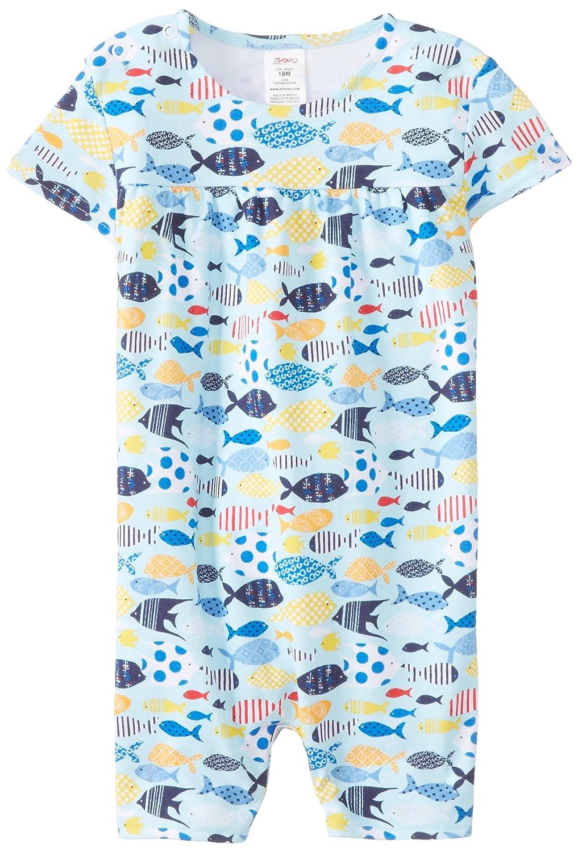Zutano Baby-Girls Newborn Sunfish Cap Sleeve Bodysuit Bluebird