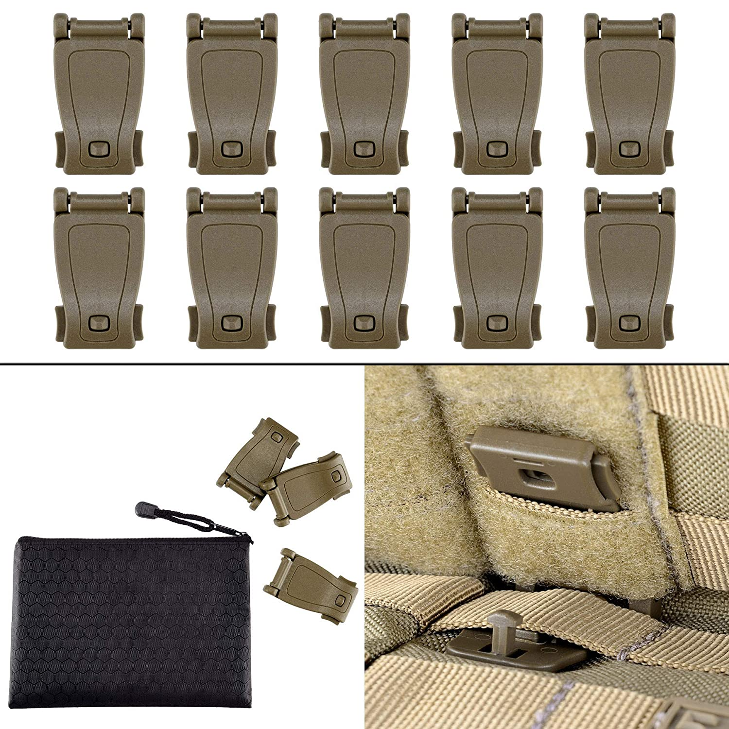 Multipurpose MOLLE Clip Tactical Strap Management Tool Web Dominator Buckle for Tactical Bag, Backpack by BOOSTEADY