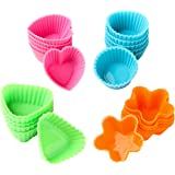 Bakerpan Silicone Small Mini Chocolate Holders, Truffle Cups, Candies, 24 Pack, 4 Colors and Shapes