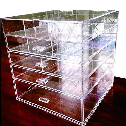 "Amazon.com: Cq acrylic Large Beauty Cube 5 Tier Drawers Acrylic Cosmetic Organizer Handmade Multi Function Makeup Organizer Storage,10""x10""x11"",Pack of 1: ..."