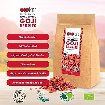 Pipkin Bayas de Goji Naturales 100% Orgánicas, Sin Gluten, Sin ...