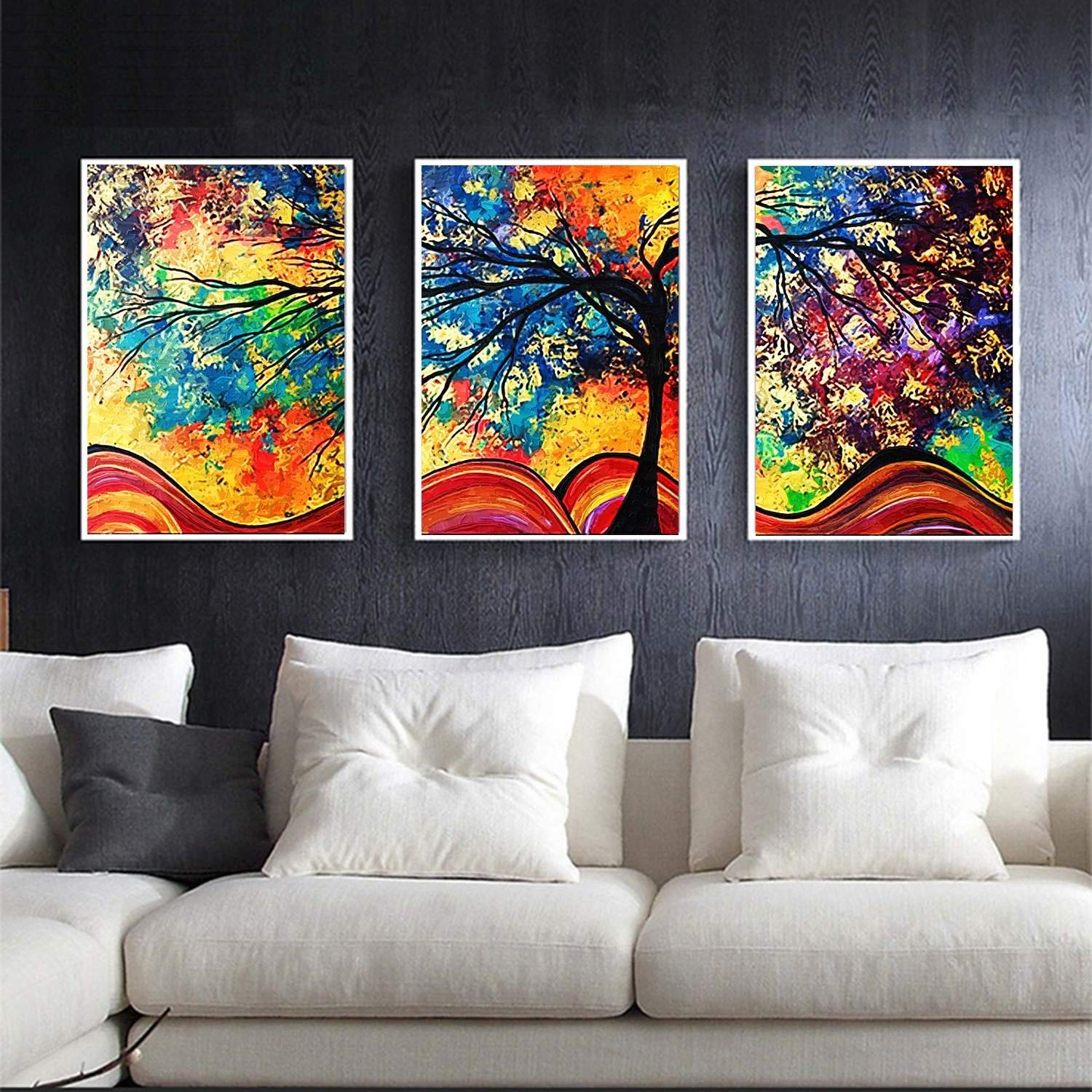 Cindere 3Pcs 7.9 x 11.8inch Oil Painting House Canvas Wall Art Landscape Painting Print on Canvas Wall Decoration Abstract Tree