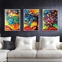 Xiak 3 Pezzi Pittura a Olio Stampata Frameless colorato Pittura Astratta Moderna su Tela Wall Art per la Decorazione Home Office