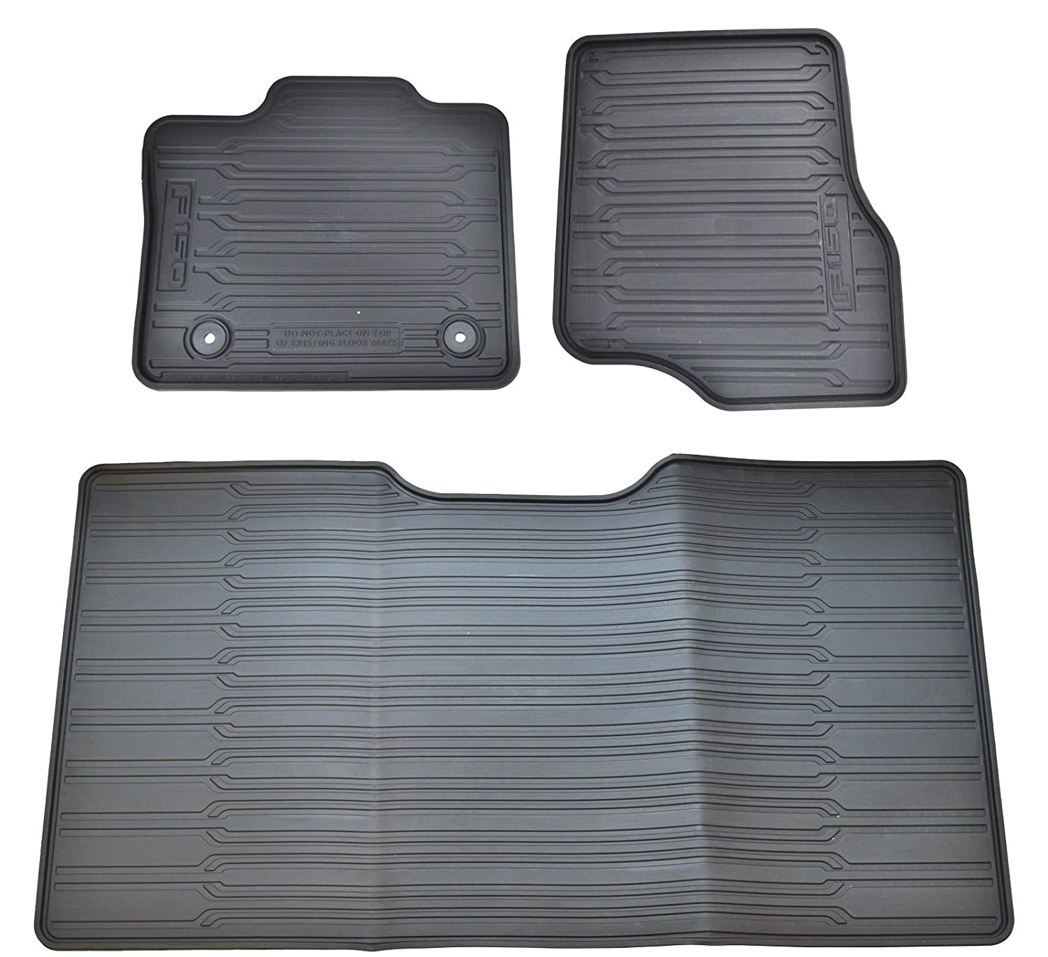 Amazon com oem factory stock genuine 2015 ford f 150 f150 supercrew black ebony rubber all weather floor mats set 3 pc front rear automotive