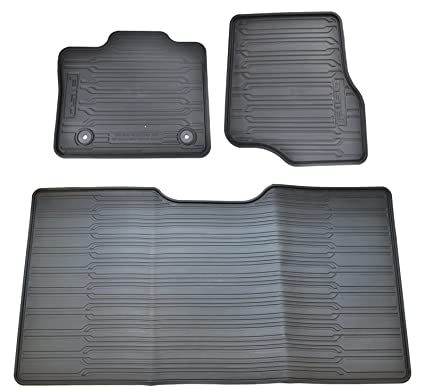 oem factory stock genuine 2015 ford f 150 f150 supercrew black ebony rubber all weather floor mats set 3 pc front \u0026 rear Ford Logo Floor Mats