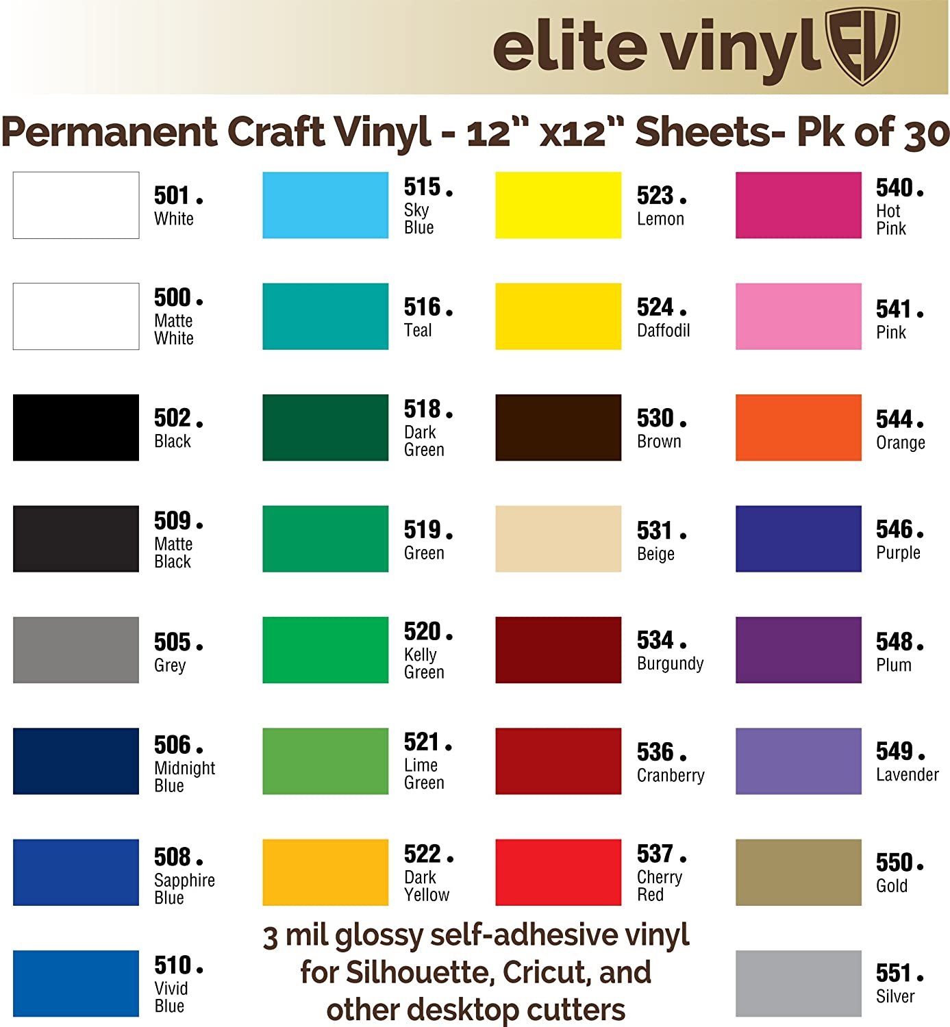 amazoncom 30 sheet pack 12 x 12 glossy outdoor vinyl for silhouette cricut and similar cutters ev121s arts crafts sewing - Cricut Vinyl Colors