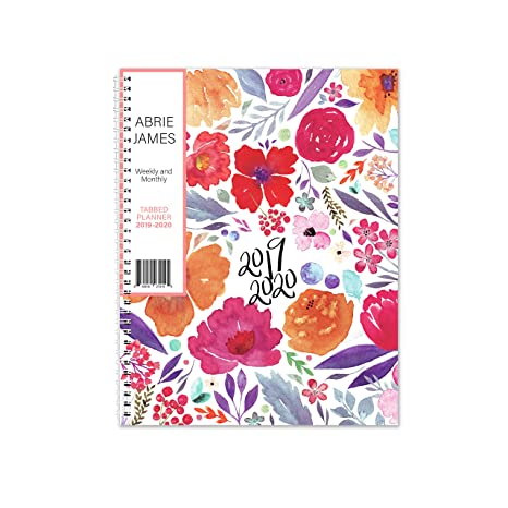 Abrie James Planner 2019-2020 Monthly Weekly Academic Planner, 8.5 x 11 inches, Floral Student Planner