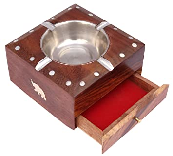 ITOS365 Handmade Wooden Ashtray with Cigarette Holder 4 Slots for Home Office Car Gifts