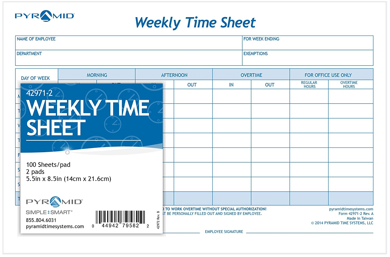 tops 30071 weekly employee time sheet 8 1 2 x 5 1 2 2