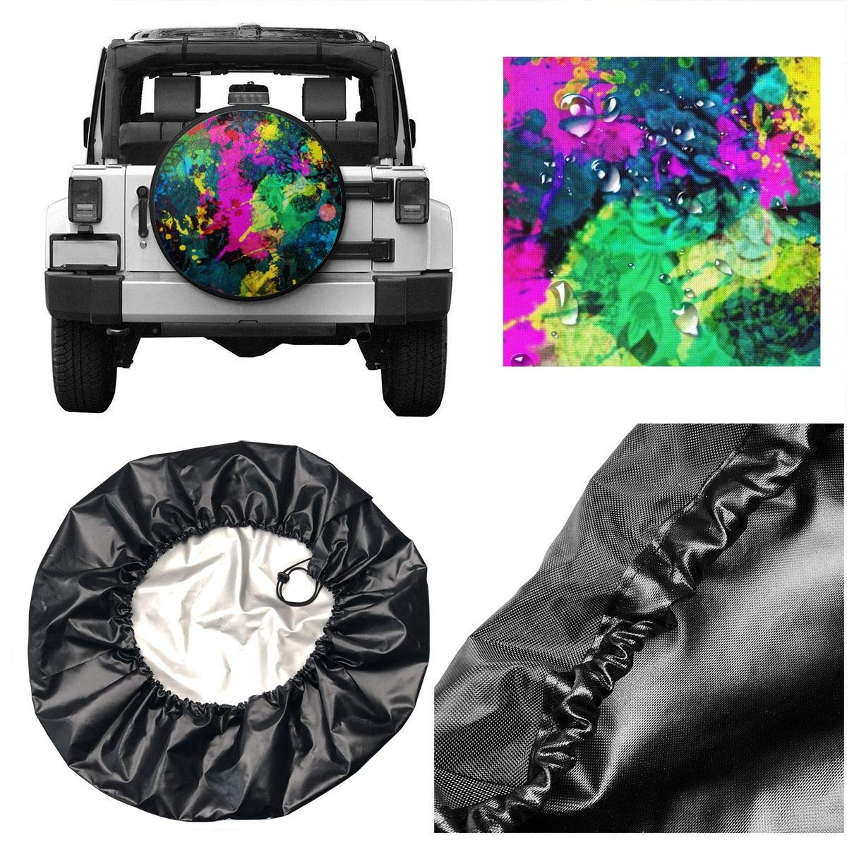 TY333 Green Pink Splatter Paint Tire Cover Polyester Universal Vehicle Accessories