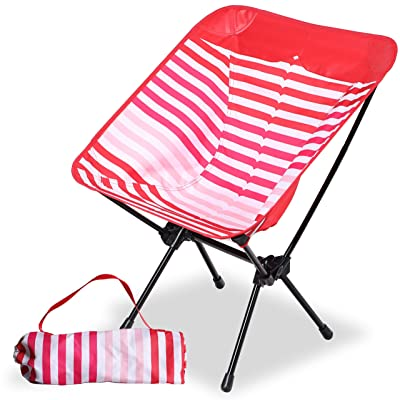 Camping World Portable Compact Ultralight Camping Folding Chairs with Aluminum Frame for Outdoor, Camping, Hiking(Red Stripe) : Sports & Outdoors