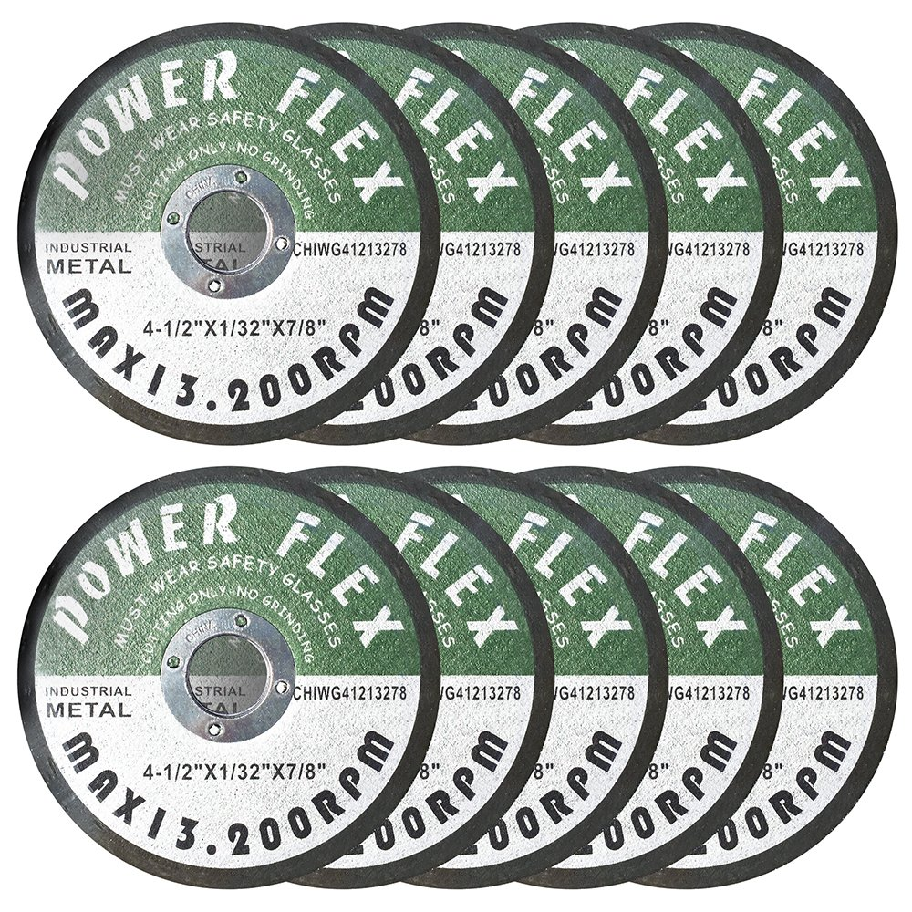 Premium Cut Off Wheels - 4 1/2'' x 1/32'' x 7/8'' - 10 Pack - For Cutting All Ferrous Metals And Steel.