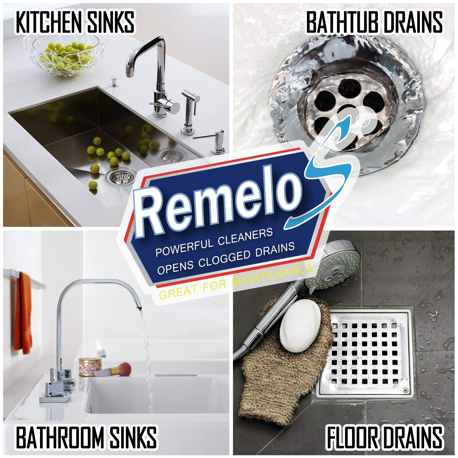 Remelos Drain Cleaner Sticks,Non-Toxic, Enzyme Formula to Eliminate Odors and Prevents Clogged Drains Clean Batonnet Deodorizer Package, 48 Pack. As Seen on TV Keeps Drains Pipes Clear(48pack) by Remelos (Image #2)