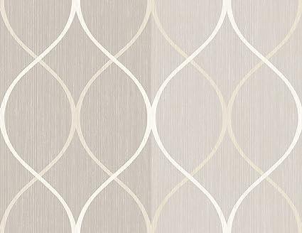 Wallpaper Modern Tone On Grey Gray Stripe With Trellis Silver Off White