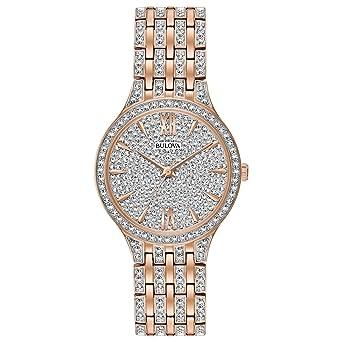 38c8919df79 Bulova Women s 98L235 Swarovski Crystal Rose Gold Tone Pave Bracelet Watch