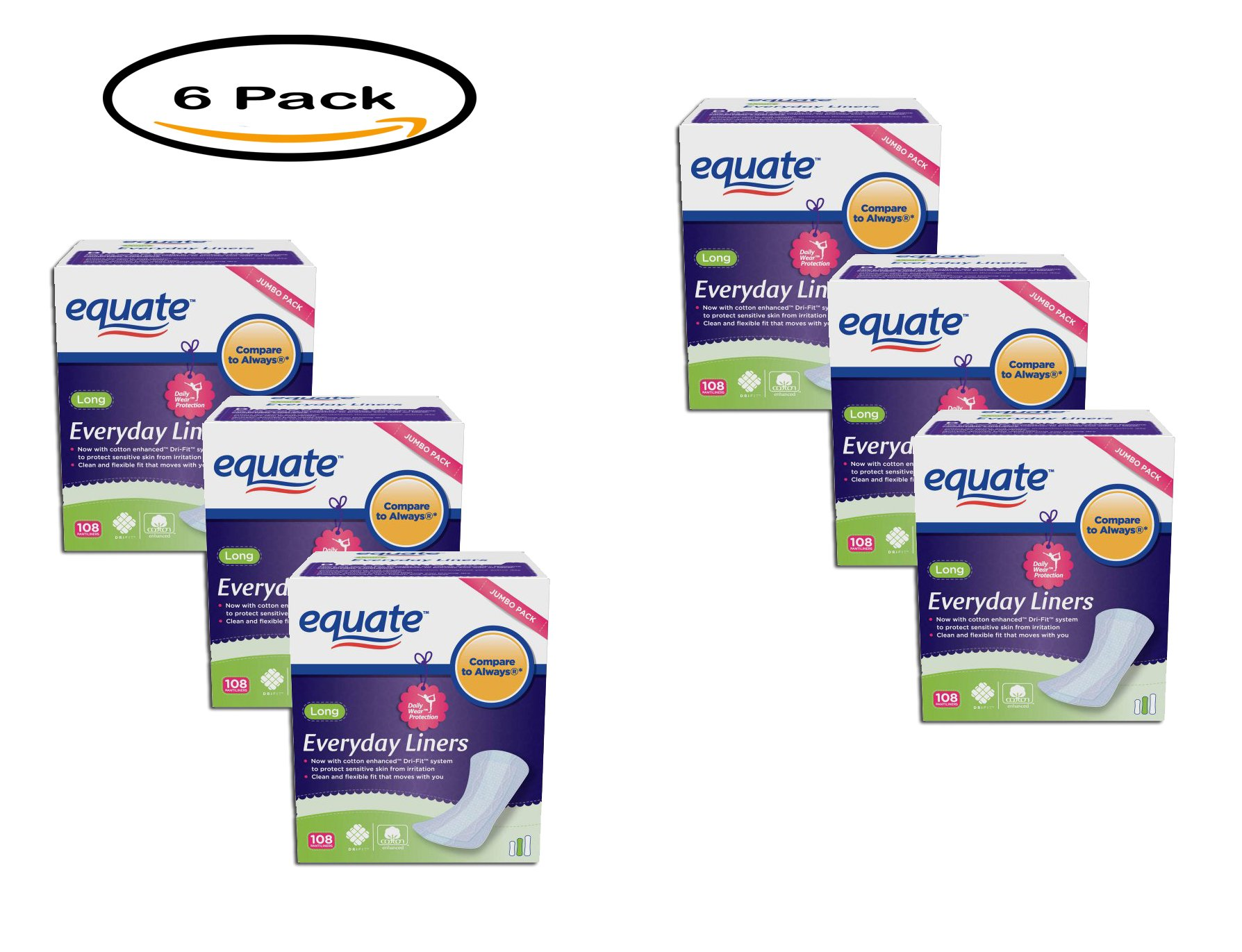 PACK OF 6 - Equate Everyday Pantiliners Long, 108 count