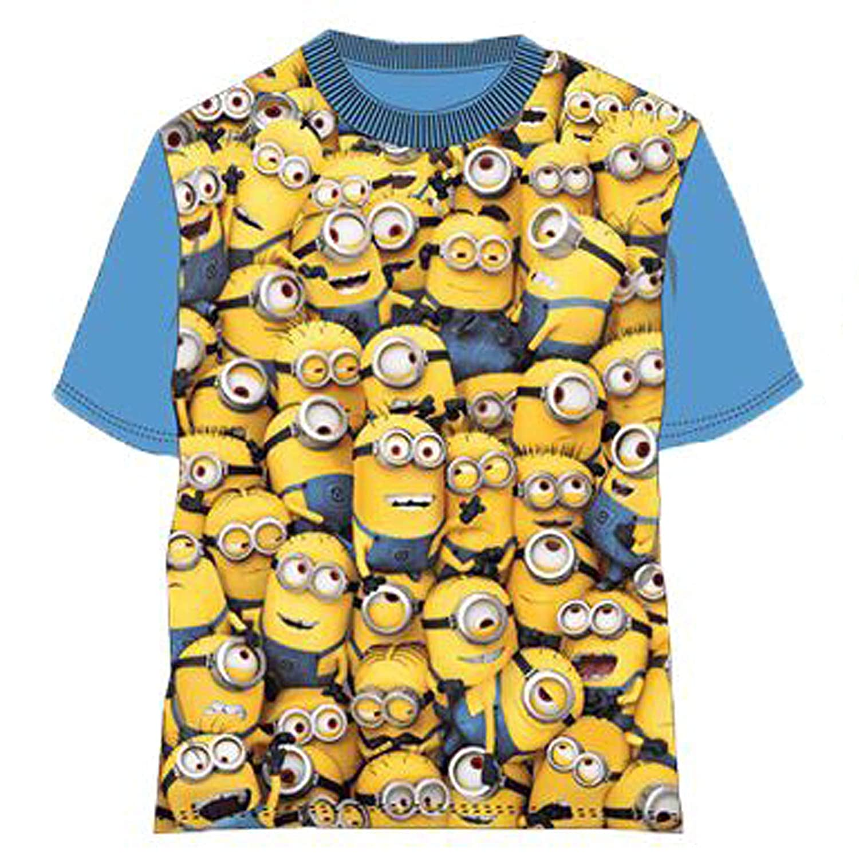 Maglietta maglia t-shirt da bambino e bambina 6 anni minions gang manica blu in cotone con licenza Universal. 6 anni 116 cm