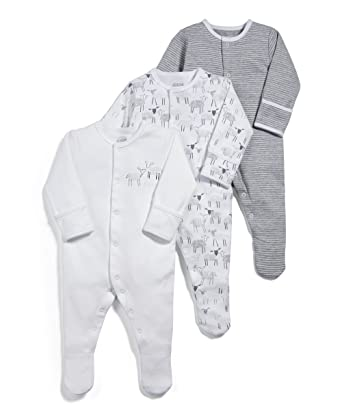 Mamas & Papas Pack of 3 Sheep Sleepsuits, Pelele Unisex bebé, Gris (Grey