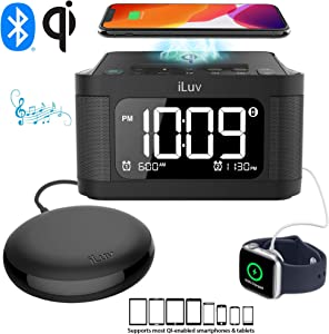 iLuv Time Shaker 6Q Wow Qi-Certified Fast 7.5/10W Wireless Charging Alarm Clock with Vibration Shaker, Dual Alarm, Bluetooth Speakers, FM Radio, Sleep Timer, 10-Level Dimmer, USB Charging Port