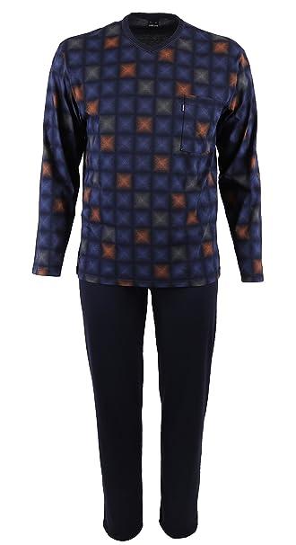 AMMANN Betz Pijama para hombres de manga larga de color azul noche talla 48-58