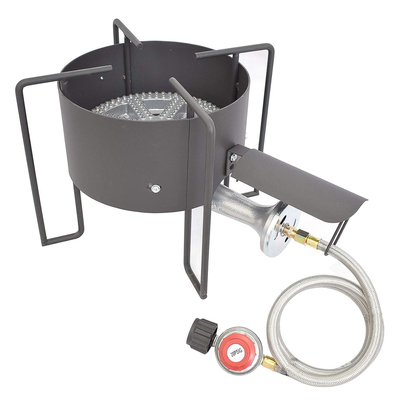 COOKAMP High Pressure Banjo 1-Burner Outdoor Propane Gas Cooker with 0-20 PSI Adjustable Regulator and Steel Braided Hose [ 2018 New Model ] SA1350