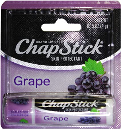 Chapstick (1) Stick Grape Flavored Lip Balm - Paraben Free Lip Care - Carded 0.15 oz