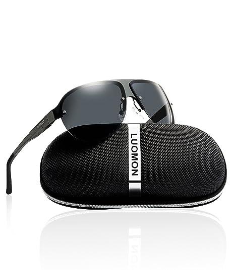 78df758047b LUOMON Men s Polarized Shield Sunglasses Al-Mg Aloy Grey Frame Grey Semi  Rimless Lens