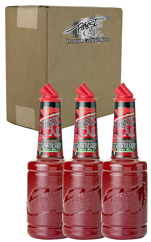 Finest Call Premium Strawberry Puree Drink Mix, 1 Liter Bottle (33.8 Fl Oz), Pack of 3