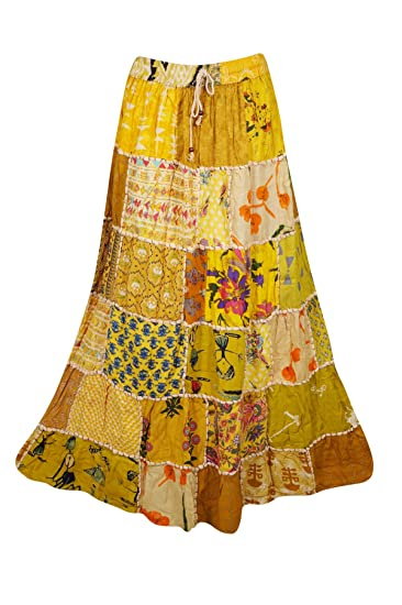 b84ea8bd7 Image Unavailable. Image not available for. Color: Women's Long Skirt  Yellow Vintage Ethnic Patchwork Rayon Maxi Skirts ...