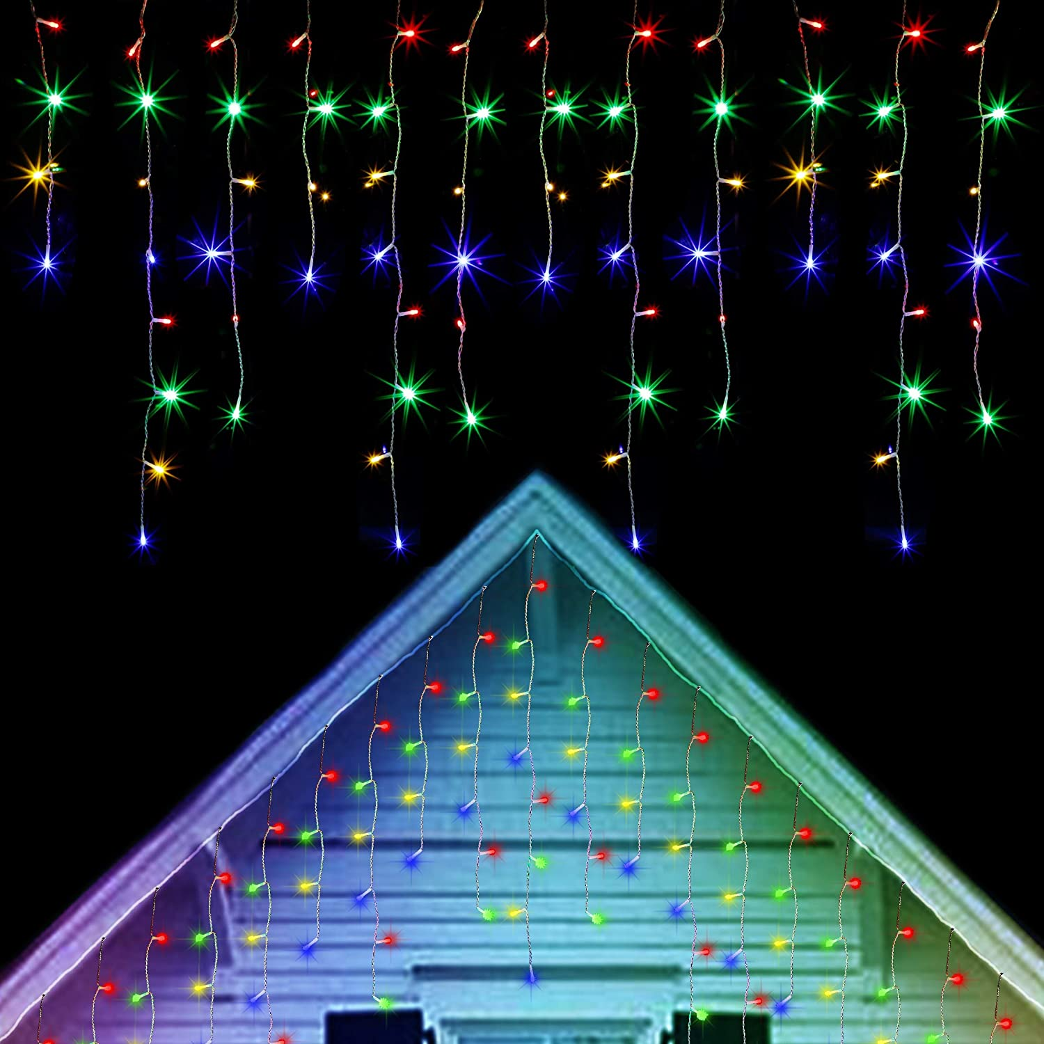 Twinkle Star 360 LED Icicle Christmas Lights Outdoor Dripping Icicle Lights, 29.5ft 8 Modes Curtain Fairy Lights with 60 Drops, Indoor Xmas Holiday Wedding Party Decorations, Multicolor