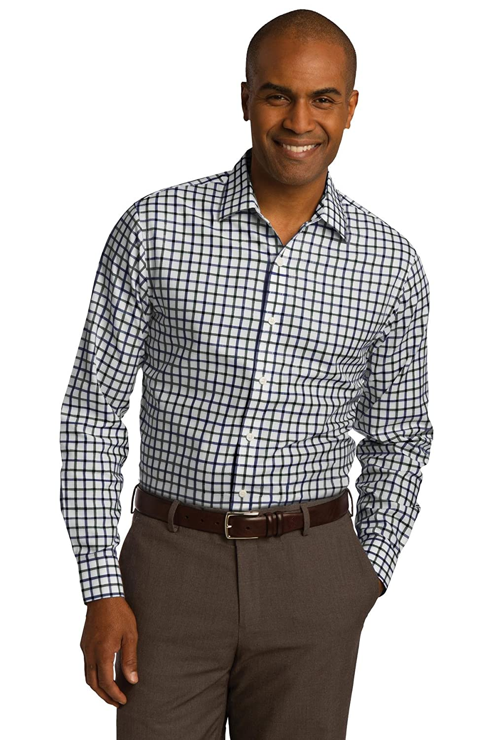 Red House Mens Tricolor Check Slim Fit Non-Iron Shirt
