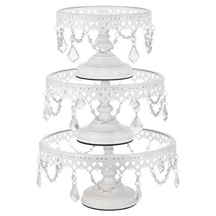 Victoria White Cake Stand Set of 3 Round Glass Plate Metal Dessert Cupcake Pedestal Wedding  sc 1 st  Amazon.com & Amazon.com | Victoria White Cake Stand Set of 3 Round Glass Plate ...