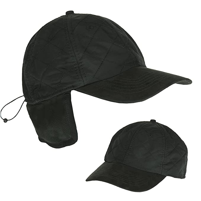 Black Cold Weather Ball Cap with Earflap f47f6a6ed65