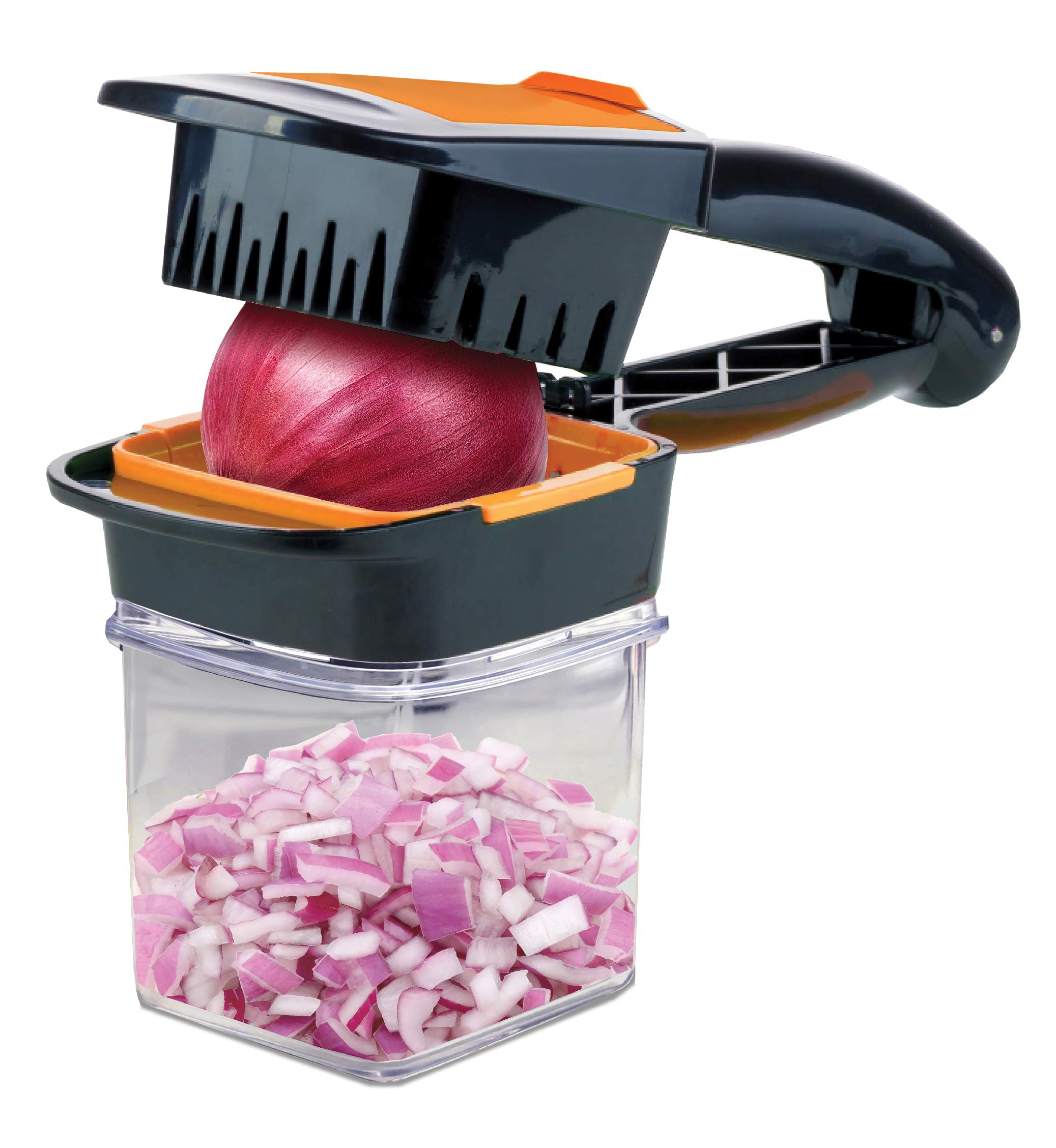 Nutrichopper with Fresh-keeping container - Chops, Slices, Cubes, Wedges - Multi-purpose Food Chopper with Stainless Steel Blades As Seen On TV by Nutrichopper