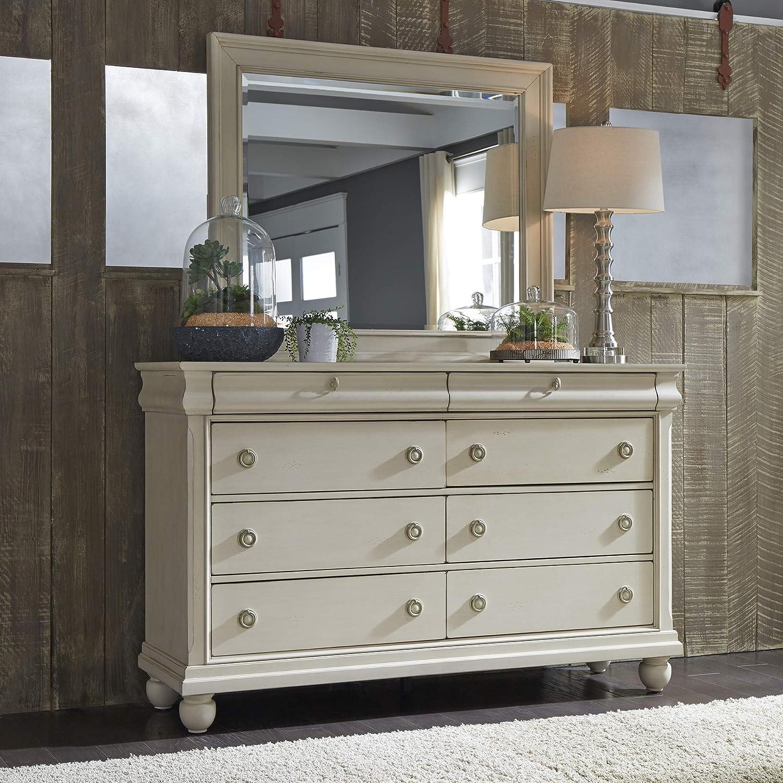 Liberty Furniture Industries Rustic Traditions II Dresser & Mirror, W64 x D18 x H80, White