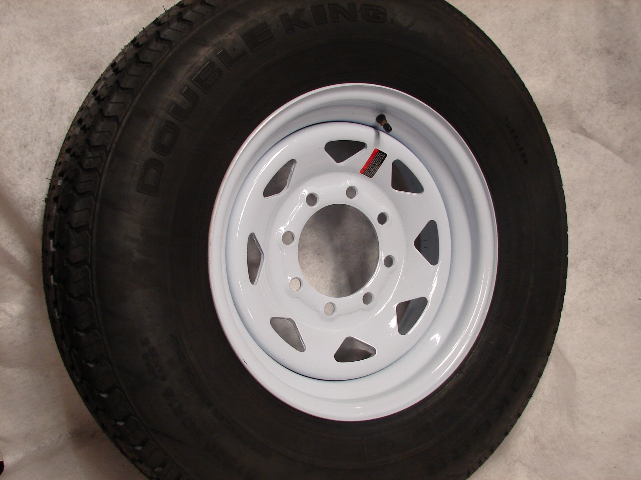 16'' White Spoke Trailer Wheel 8 Lug with Radial ST235/80R16 Tire Mounted (8x6.5) bolt circle