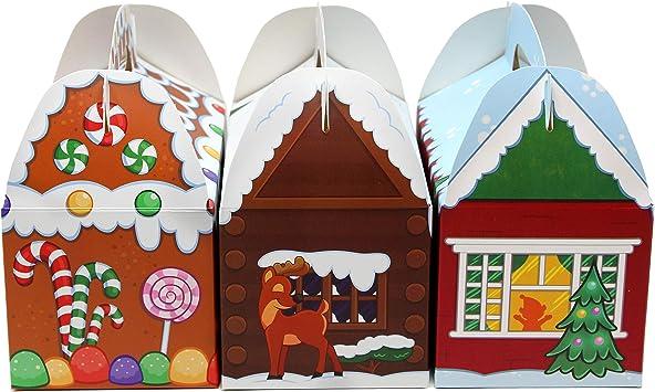 Fournitures de Service Salle de Classe Bo/îtes de Biscuits en Carton de Friandises. JOYIN 24 Pcs 3D Bo/îtes de Friandises en Carton de Maison Cadeau de No/ël Goody de Vacances Bo/îtes de Papier