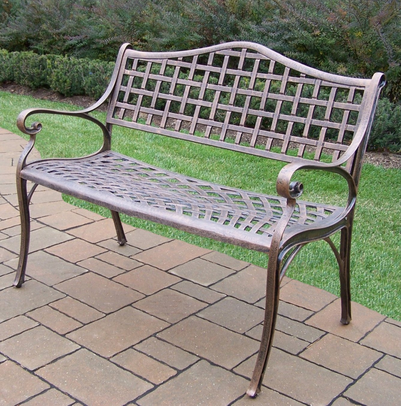 Amazon.com : Oakland Living Elite Cast Aluminum Settee Bench, Antique  Bronze : Outdoor Benches : Garden U0026 Outdoor