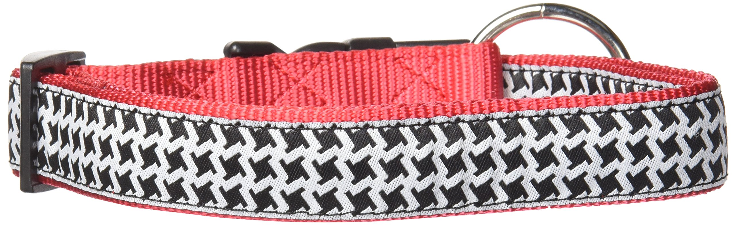 Hamilton 1'' x 18-26'' Adjustable Dog Collar with Hounds Tooth Patterned Ribbon Overlay, Large